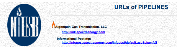 NAESB list of Pipeline Companies URLs